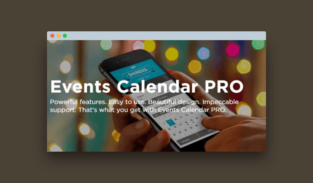 Events calendar pro plugin de Wordpress